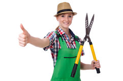 Young woman with shears Royalty Free Stock Photo