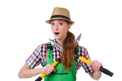 Young woman with shears Royalty Free Stock Photography