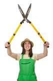 Young woman with shears Royalty Free Stock Images