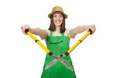Young woman with shears on white Royalty Free Stock Image