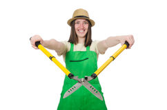 Young woman with shears on white Royalty Free Stock Images
