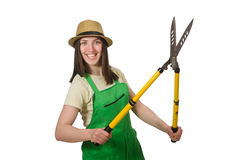 Young woman with shears on white Royalty Free Stock Photos