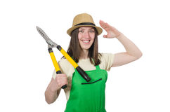 Young woman with shears on white Royalty Free Stock Photo