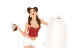 Young woman with shirt and iron. Stock Image