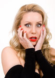 Young woman shocked Royalty Free Stock Photography