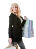 Young woman shooping isolated on white Royalty Free Stock Image