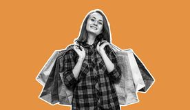 Young woman with shoping bags. Happy young woman with shoping bags. Magazine style collage with copy space and orange background royalty free stock images