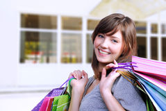 Young woman shopper Stock Images
