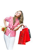 Young woman after shopping Stock Image