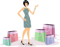 Young woman shopping. Fashionable and glamour young woman shopping  (Vector illustration Royalty Free Stock Image