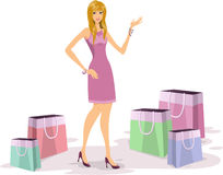 Young woman shopping. Fashionable young blonde woman shopping illustration Royalty Free Stock Photo