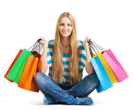Young woman after shopping Stock Images