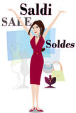 Young woman shopping. Young woman sales shopping illustration Royalty Free Stock Photography