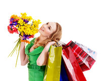 Young woman with shopping bag. Stock Images
