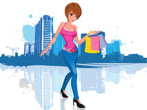 Young woman with shopping bag in city. Vector illustration of a young and attractive brunette woman with short hair, wearing an attractive pink shirt and black Stock Image