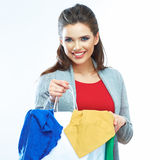 Young woman with shopping bag. Royalty Free Stock Photography