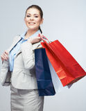 Young woman shopping bag hold. Stock Photos