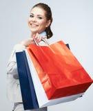 Young woman shopping bag hold. Stock Photos