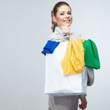 Young woman shopping bag hold. Royalty Free Stock Image