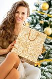 Young woman with shopping bag near christmas tree. Happy young woman with shopping bag near christmas tree Royalty Free Stock Image