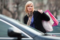 Young woman with shopping bags. Stock Images