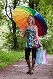 Young woman with shopping bags. Royalty Free Stock Image
