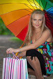 Young woman with shopping bags. royalty free stock images