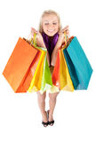 Young woman with shopping bags. Happy young woman holding shopping bags Royalty Free Stock Photo