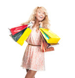 Young woman with shopping bags. Royalty Free Stock Photography