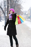 Young woman with shopping bags. Winter collection: young woman with shopping bags Stock Images