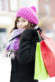 Young woman with shopping bags. Winter collection: young woman with shopping bags Stock Photo