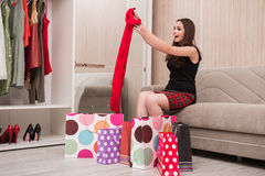 The young woman after shopping with bags Royalty Free Stock Photo