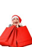 Young woman with shopping bags on Christmas Royalty Free Stock Image