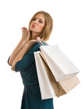 Young  woman with shopping bags isolated Royalty Free Stock Photo
