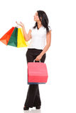 Young woman shopping bags white background Stock Images