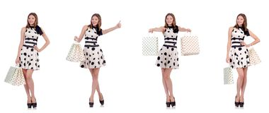 The young woman with shopping bags on white. Young woman with shopping bags on white Stock Images