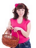Young woman with shopping basket Stock Images
