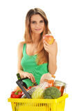Young woman with shopping basket isolated on white Stock Image