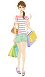 Young woman shopping,casual style Royalty Free Stock Images