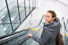 Young woman at a  shopping center Stock Photos