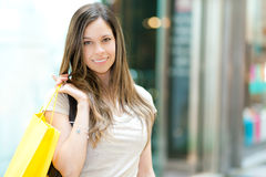 Young woman shopping in the city Royalty Free Stock Photo