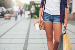 Young woman shopping in the city Stock Image