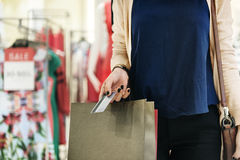 Young Woman Shopping Consumer Concept stock photo
