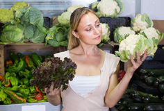 Young woman shopping fresh cabbage on marketplace Royalty Free Stock Photography