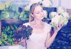 Young woman shopping fresh cabbage on marketplace Royalty Free Stock Image