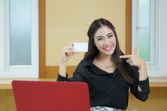 Young woman shopping on the Internet with credit card Royalty Free Stock Image