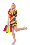 Young woman after shopping Royalty Free Stock Photography