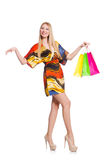 Young woman after shopping isolated Royalty Free Stock Images