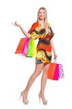 Young woman after shopping isolated Stock Image