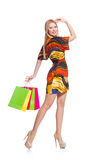 Young woman after shopping isolated Stock Images